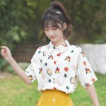 Flower And Fruits Print Shirt