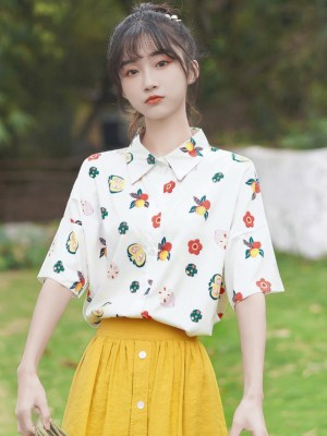 Flower And Fruits Print Shirt (5)