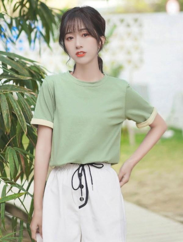 Green Round Neck Basic T-Shirt