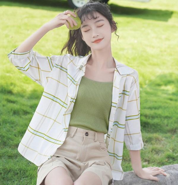 Half Sleeved Green Blue Checkered Shirt