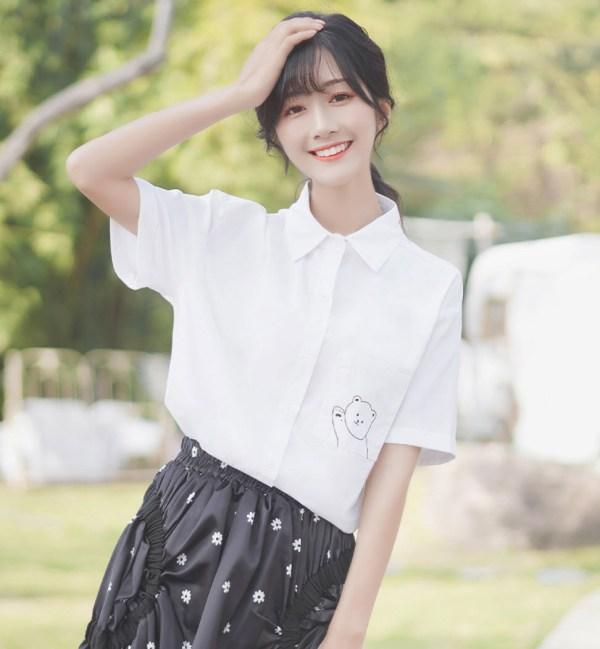 Hi Bear Pocket Print Shirt With Checkered Tie