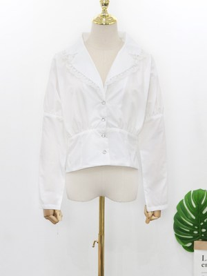 Hyuna Oversized Notched Shawl In Ivory White Blouse 00017