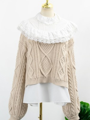 Hyuna Ruffled Collar Beige Sweater 00010