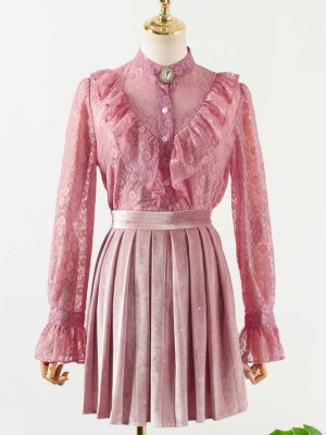 IU Nehru V-Shaped Ruffle Laced Taffy Pink Blouse 00002