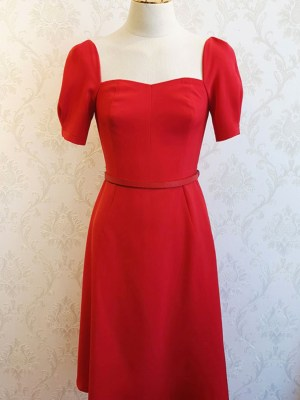 IU Sweetheart Collar With Thin Belt Candy Red Dress 00007