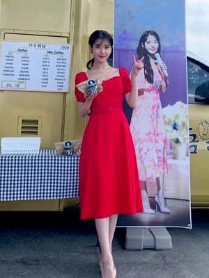 Sweetheart Collar With Thin Belt Candy Red Dress   IU – Hotel Del Luna