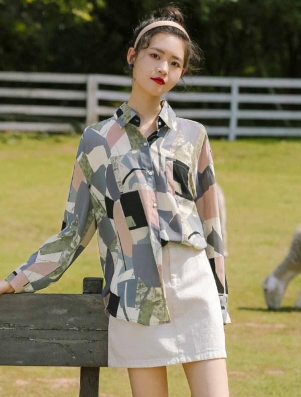 Irregular Shaped Multicolor Pattern Print Shirt