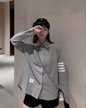 Jin Stone Grey Button Down Collar Shirt 00011