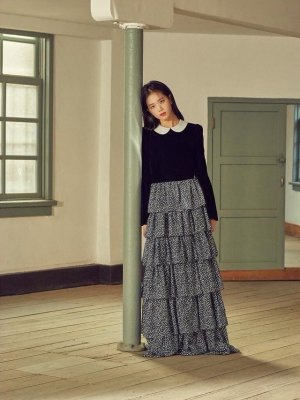 Black Long Layered Chiffon Skirt | Jisoo – Blackpink