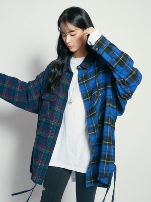 Jisoo – Blackpink Contrast Plaid Oversized Jacket (10)