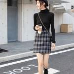 Plaid High Waist A-Line Skirt | Joy – Red Velvet