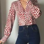 Outlined Red Hearts V-Neck Blouse   Lisa – BlackPink
