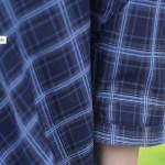 One Side Mesh Off Shoulder Plaid Shirt