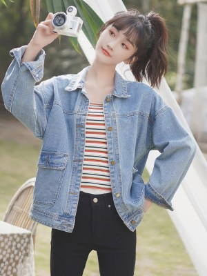 One Side Open And Closed Pockets Denim Jacket (2)