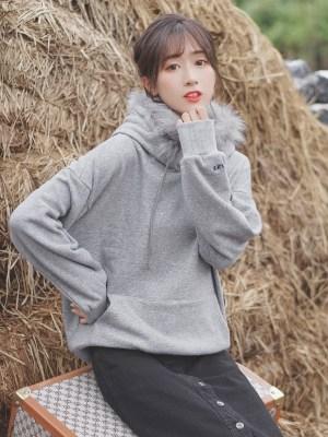 Plain Grey Fur Hood Hoodie (5)