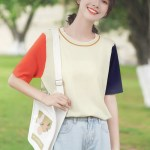 Red And Blue Sleeves Round Neck T-Shirt