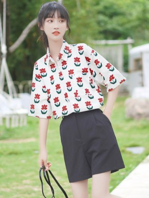 Red Flowers Print Shirt (7)