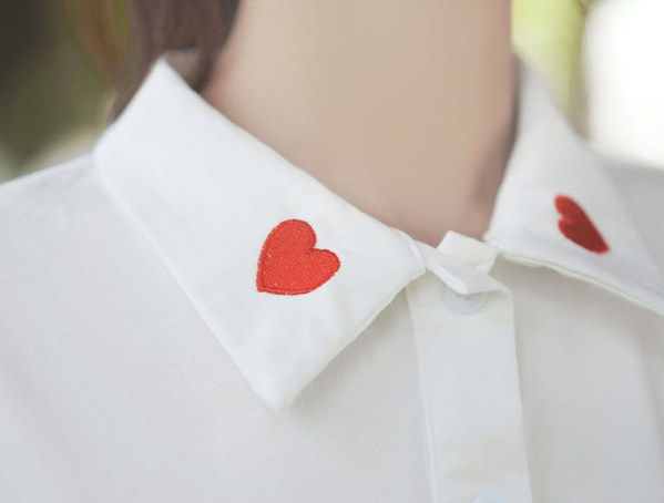 Red Hearts On Polo Collared T-Shirt