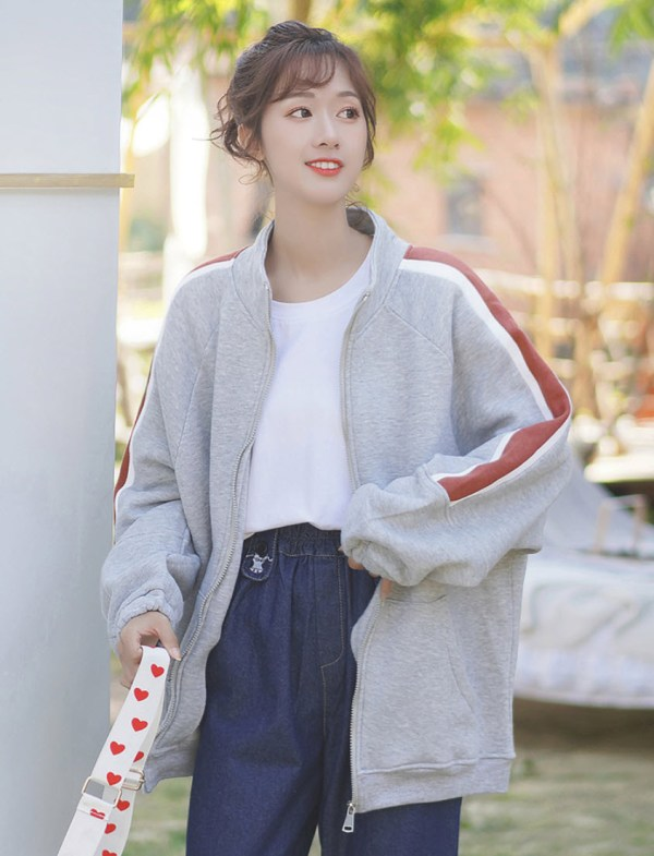 Red Striped Sleeves Grey Zip Up Jacket