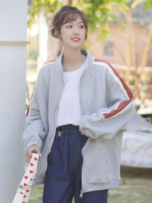 Red Striped Sleeves Grey Zip Up Jacket (5)