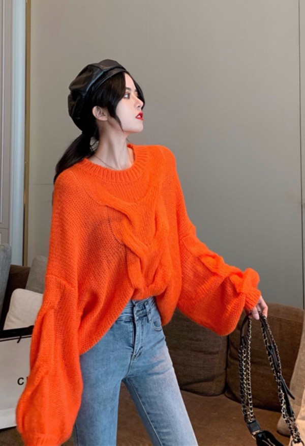 Oversized Cable Fire Orange Sweater | Rose – Blackpink