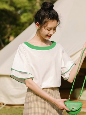Ruffled Sleeves Green Outlined T-Shirt (3)