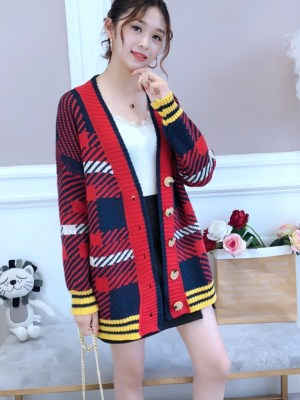 Taehyung Blood Red Plaid Oversized V-neck Cardigan 00005