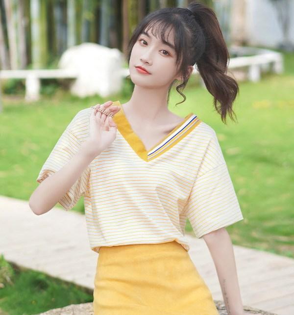 V-Neck Orange Striped T-Shirt