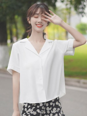 V-Neck White Plain Shirt (4)
