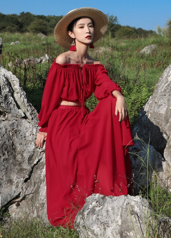 Red Off Shoulder Two-Piece Dress | Solar  – Mamamoo