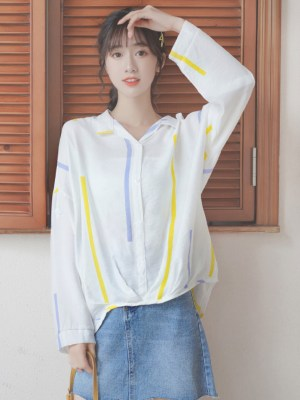 Yellow And Blue Strips Thin Shirt (2)