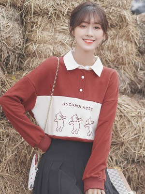 Autumn Note Red Sweatshirt