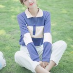 Blue And Cream Buttoned Sweater