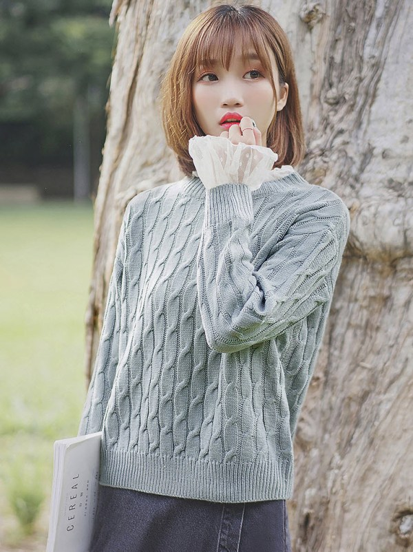Blue Green Laced Neck & Sleeves Sweater