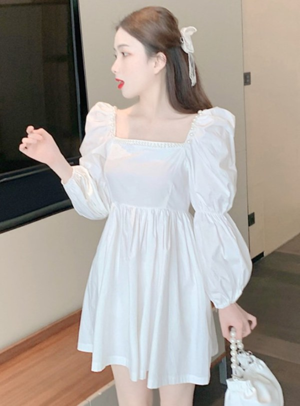Pearl Embellished Square Neck White Dress | Chaeyoung – Twice