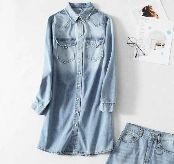 Denim Shirt Dress | Chaeyoung- Twice