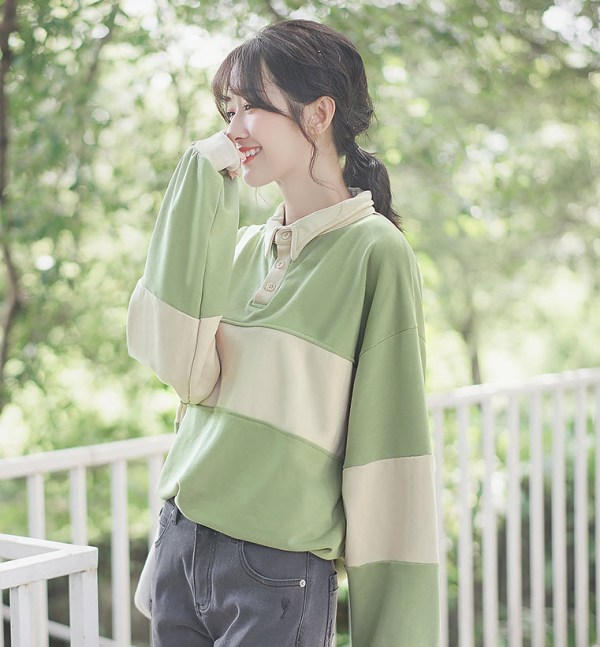 Green And Cream Striped Sweater