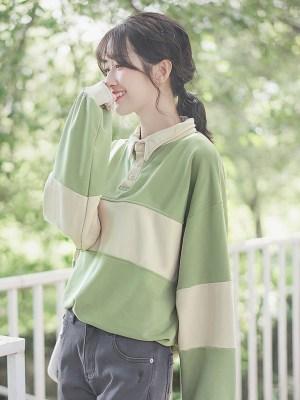 Green And Cream Striped Sweater