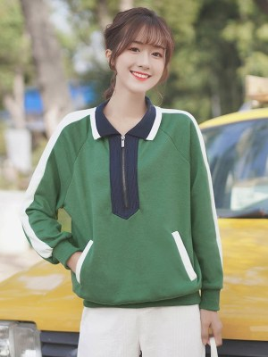 Green Polo Collared Zip-Up Sweater