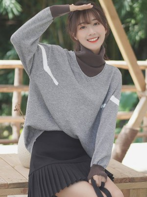 Grey Two-Piece Turtleneck Sweater