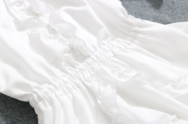 Off-Shoulder White Ruffled Short Dress | Hyuna