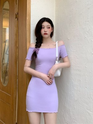 Hyuna – Purple Off-Shoulder Dress (1)