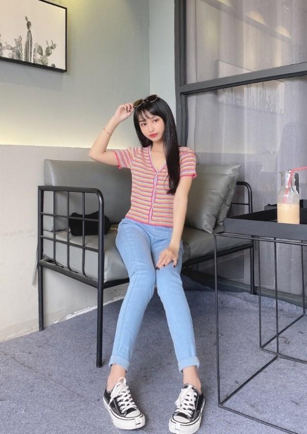 Rainbow Striped Buttoned V-Neck Top   Hyuna