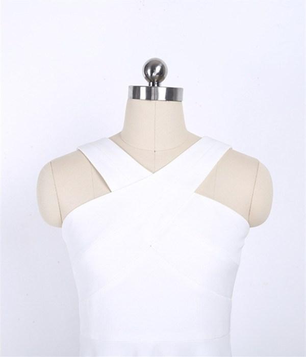 White Crossed Neck Dress | IU