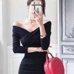 Black Cross Front Off-Shoulder Dress | Irene – Red Velvet