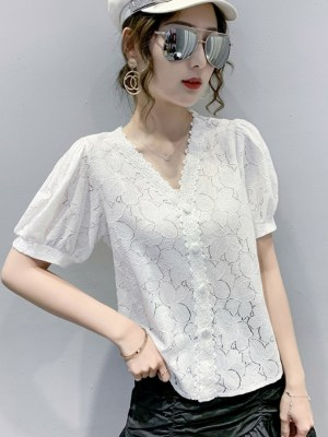 Jihyo Puff Sleeve White Lace Shirt (3)