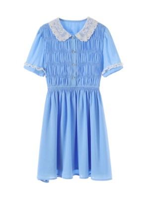Joy – Red Velvet Blue Doll Collared Dress (9)