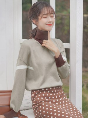 Light Brown Two-Piece Turtleneck Sweater (1)