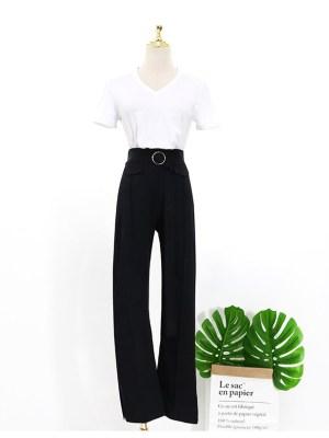 Lisa Plain White V-Neck Short Sleeve T-Shirt & Belted Black Casual Pants (6)