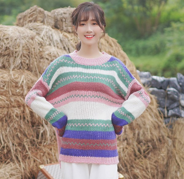 Multicolored Knitter Round Neck Sweater